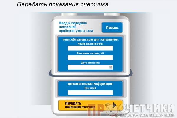 Передача показания счетчика газа через интернет