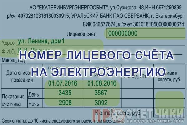 Определение номера лицевого счёта на электроэнергию